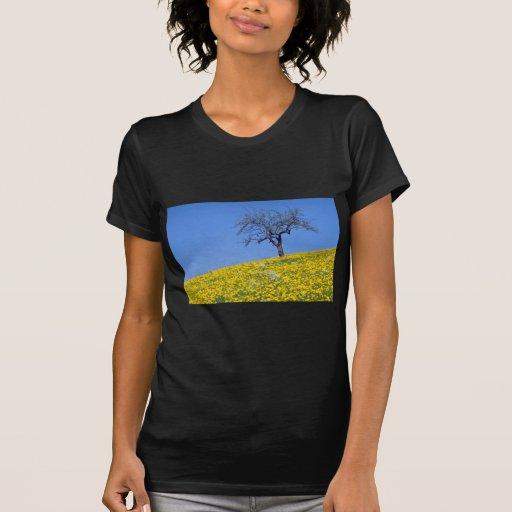flores amarillas del prado del manzano y del t-shirts