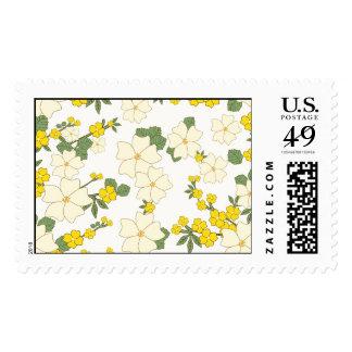 Flores amarillas del vintage franqueo