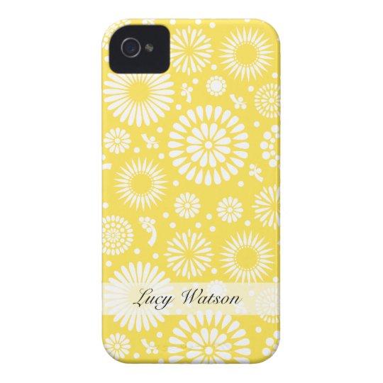 Flores amarillas del vintage funda para iPhone 4
