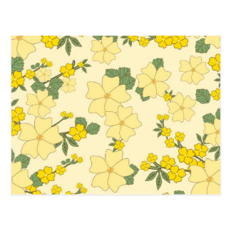 Flores amarillas del vintage postal