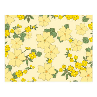 Flores amarillas del vintage postales