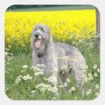 flores amarillas del wolfhound irlandés pegatina cuadrada