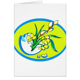 flores amarillas en el huevo oval.png azul tarjeta pequeña