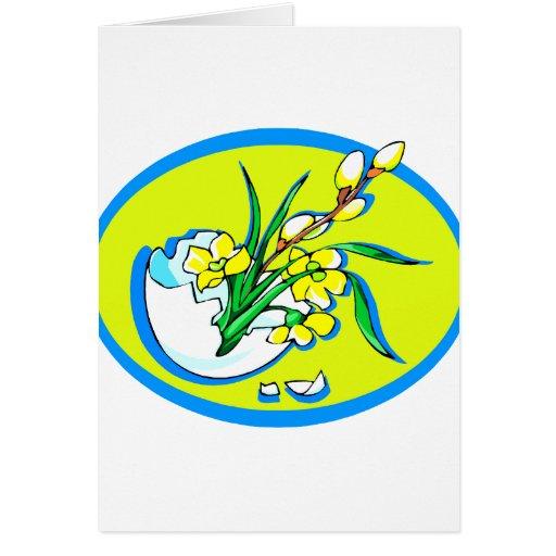 flores amarillas en el huevo oval.png azul tarjeton