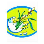 flores amarillas en el huevo oval.png azul tarjeta postal