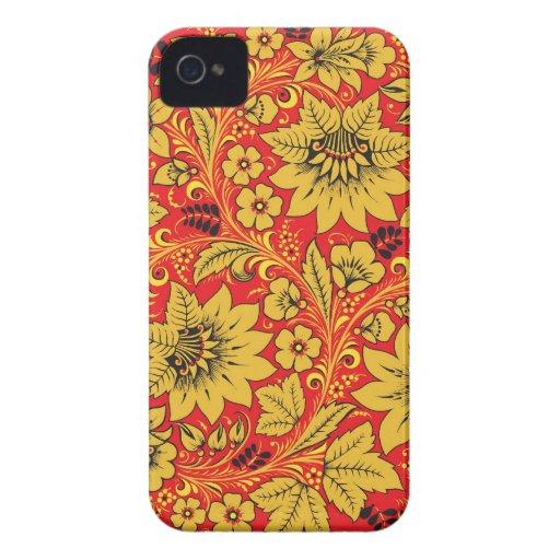 Flores amarillas en la caja roja del iphone 4/4s d Case-Mate iPhone 4 cárcasas