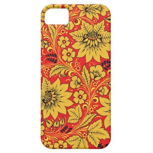Flores amarillas en la caja roja del iphone 5/5S d iPhone 5 Coberturas