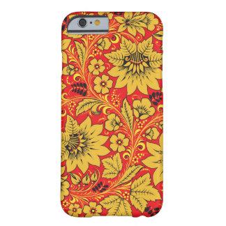 Flores amarillas en la caja roja del iPhone 6 del Funda De iPhone 6 Barely There