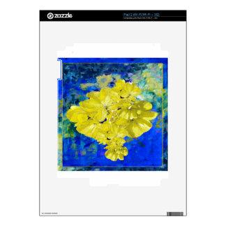Flores amarillas en regalos azules de la laguna calcomanía para iPad 2