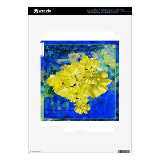 Flores amarillas en regalos azules de la laguna iPad 3 skins