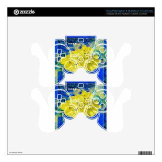 Flores amarillas en regalos azules de la laguna mando PS3 skin