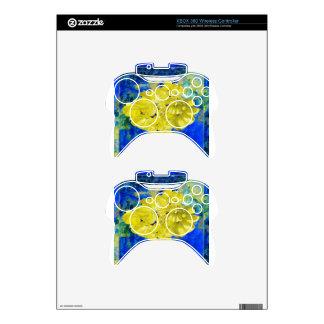 Flores amarillas en regalos azules de la laguna mando xbox 360 skin