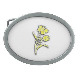 Flores amarillas hebilla cinturon oval