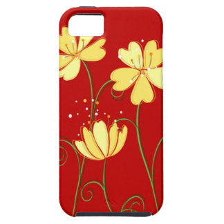 Flores amarillas modernas en rojo iPhone 5 Case-Mate protectores