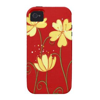 Flores amarillas modernas en rojo iPhone 4/4S carcasa