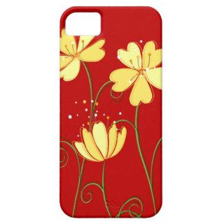Flores amarillas modernas en rojo funda para iPhone SE/5/5s