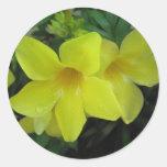 Flores amarillas pegatina redonda