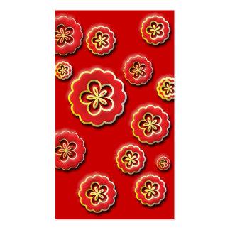 flores amarillas rojas 3D Tarjetas De Visita