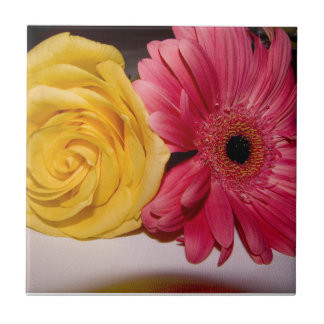 Flores amarillas rosadas azulejos cerámicos