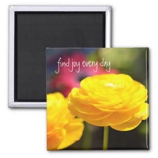 Flores amarillas soleadas de la primavera imán cuadrado