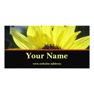 Flores amarillas tarjeta con foto personalizada