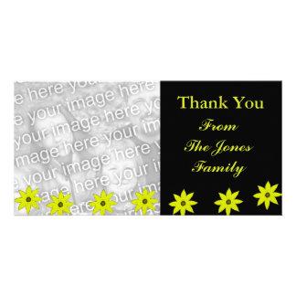 Flores amarillas tarjeta personal con foto