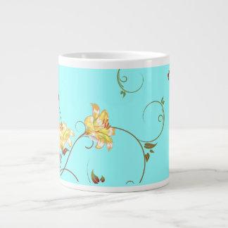 Flores amarillas, taza de la turquesa taza grande