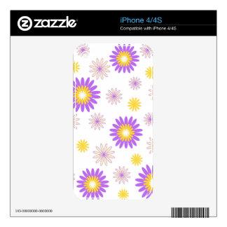 Flores amarillas violetas iPhone 4S calcomanías
