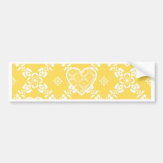 Flores amarillas y blancas y corazones adaptables pegatina para auto