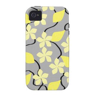 Flores amarillas y grises Modelo floral Vibe iPhone 4 Fundas