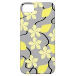 Flores amarillas y grises. Modelo floral iPhone 5 Cárcasa