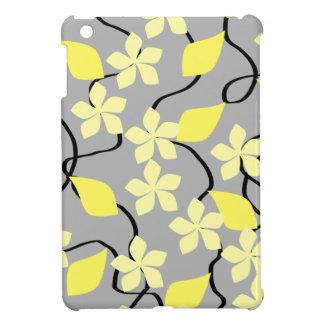 Flores amarillas y grises. Modelo floral iPad Mini Cárcasa