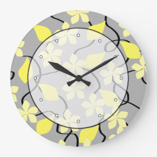 Flores amarillas y grises. Modelo floral Reloj