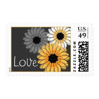 Flores amarillas y grises sellos postales