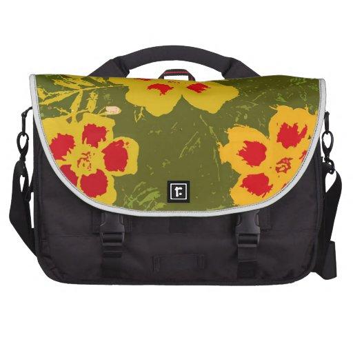 Flores amarillas y rojas del vintage bolsas para portatil