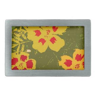 Flores amarillas y rojas del vintage hebilla cinturon
