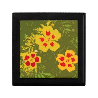 Flores amarillas y rojas del vintage joyero cuadrado pequeño