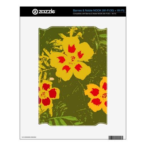 Flores amarillas y rojas del vintage NOOK skins