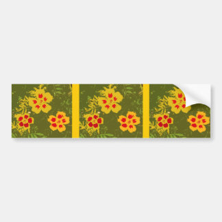 Flores amarillas y rojas del vintage pegatina para auto