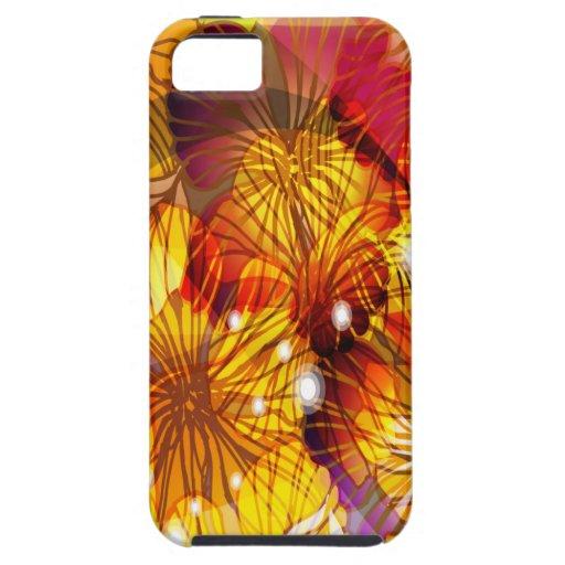 Flores amarillas y rojas iPhone 5 Case-Mate funda