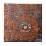 flores anaranjadas abstractas tejas  cerámicas