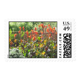Flores anaranjadas altas sello