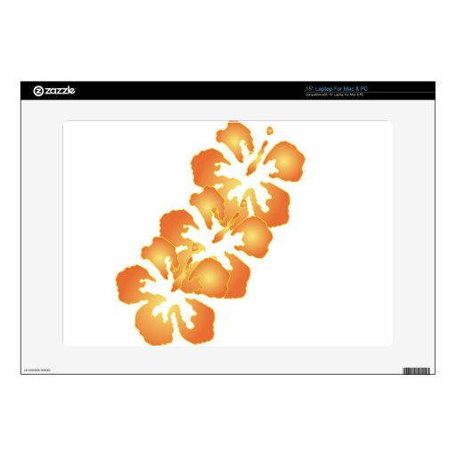 Flores anaranjadas de encargo del hibisco en el ar portátil skins