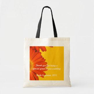 flores anaranjadas de la margarita del gerbera bolsa tela barata