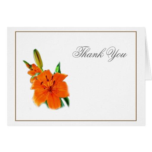flores anaranjadas del lirio del color, gracias tarjeton