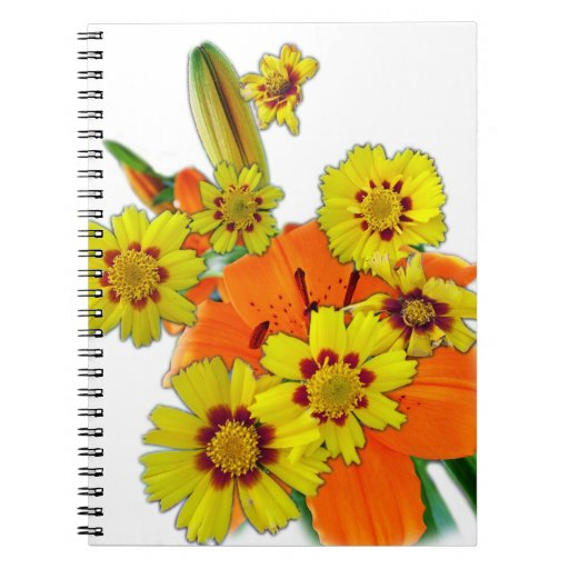 flores anaranjadas del lirio y de la margarita libreta