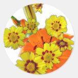 flores anaranjadas del lirio y de la margarita pegatina redonda