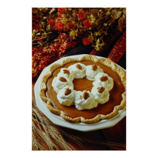 Flores anaranjadas del pastel de calabaza de la cr impresiones