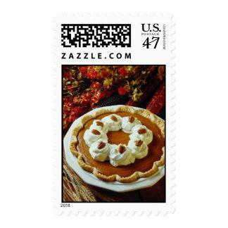 Flores anaranjadas del pastel de calabaza de la sello postal