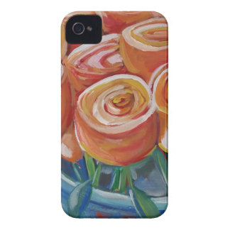 Flores anaranjadas iPhone 4 Case-Mate protector
